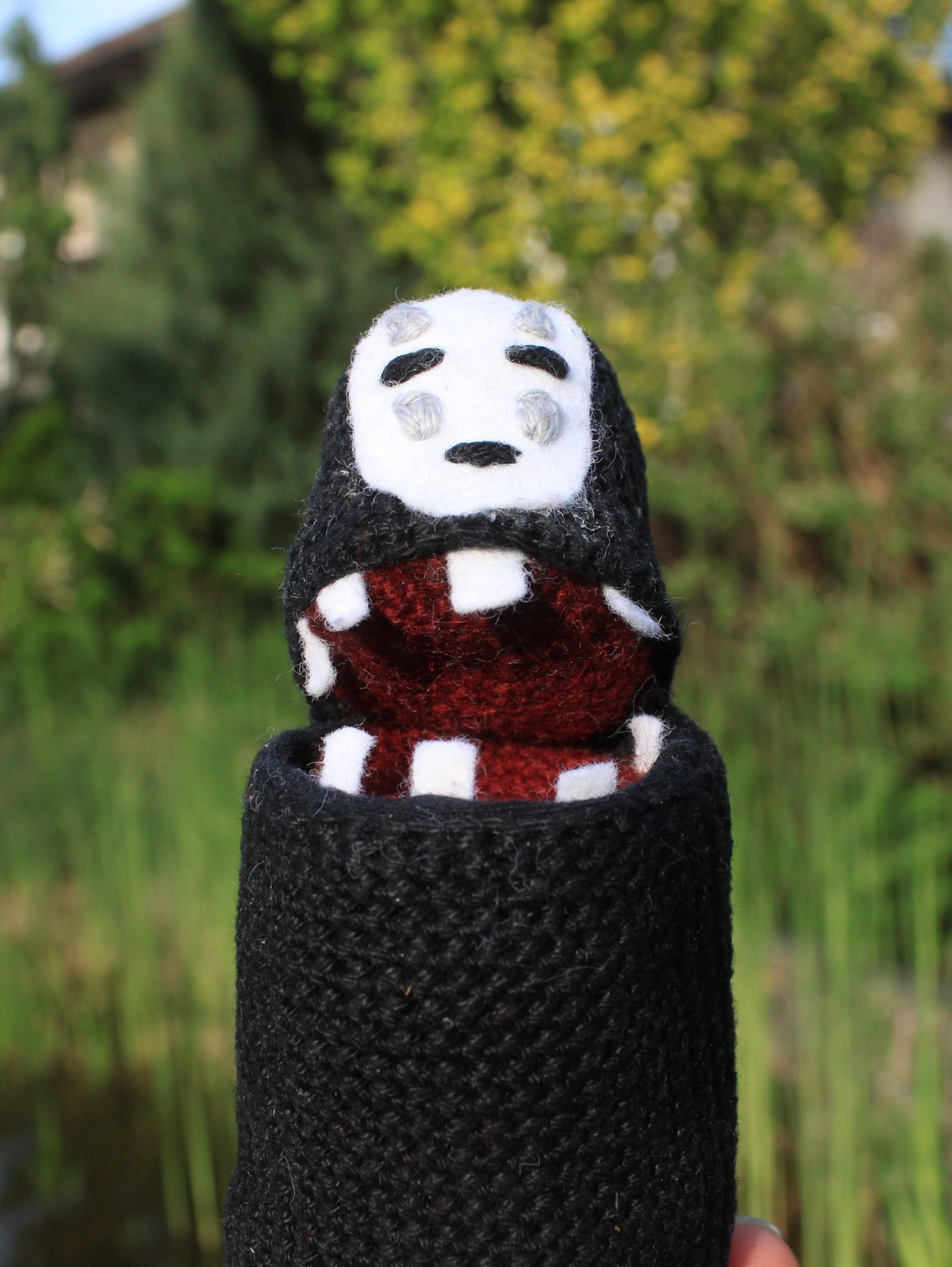 No-Face from Spirited Away Crochet Amigurumi Figure with Secret Storage