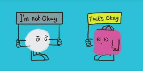 Cartoon showing a character that's not okay, with he friend saying 'that's okay'