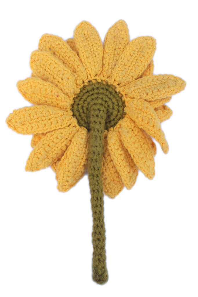 Back View of Finished Crochet Sunflower