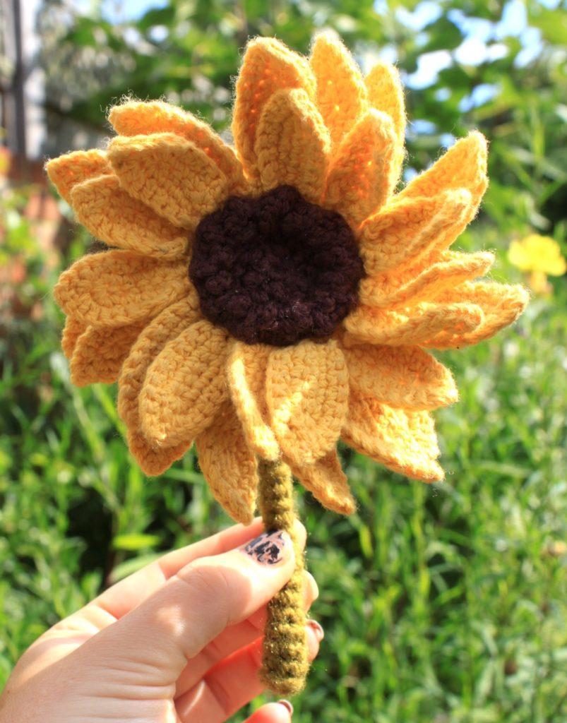 Crochet Sunflower Held Upright In Garden