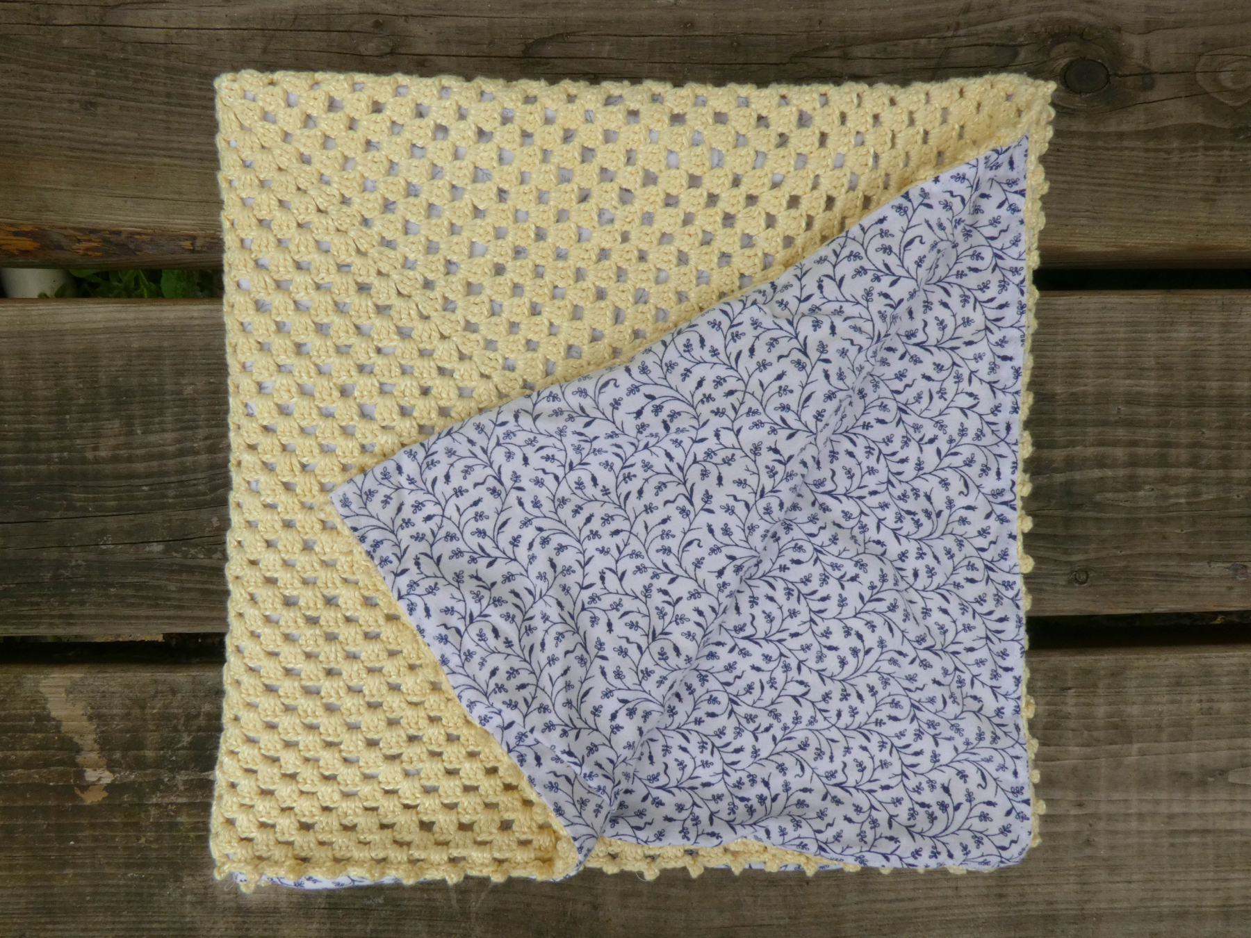Yellow Granny Square Baby Blanket with Fabric Backing